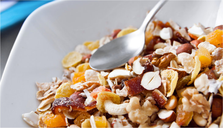 Close up of a bowl of muesli