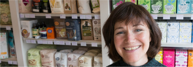 Picture of Kate, owner of Inside Out Health, Reigate. In the shop.
