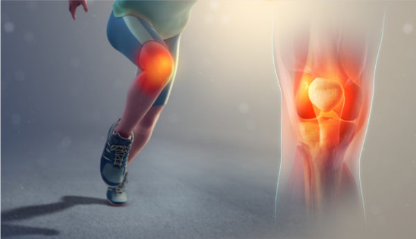 Picture of runner's legs with sore knee joint, inflamed with red and orange and another picture of a knee joint with red inflammation around the bone